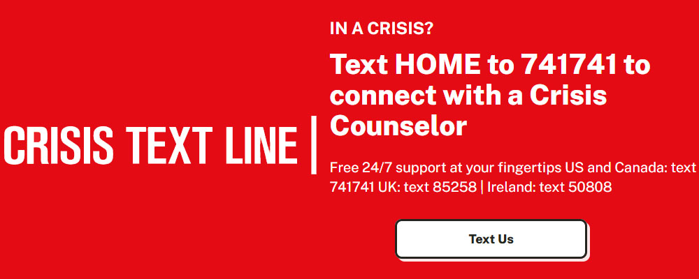 Crisis Text Line - Text HOME to 741741